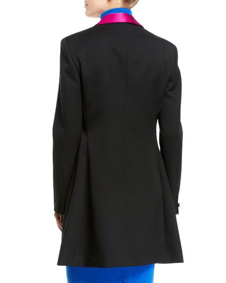 CALVIN KLEIN 205W39NYC Tux-Lapel One-Button Long Wool Gabardine Blazer Coat