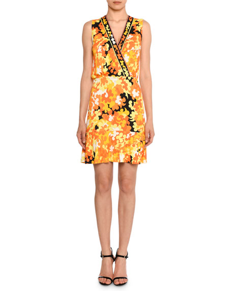 Emilio Pucci Sleeveless Surplice-Neck Hydrangea-Print A-Line Dress