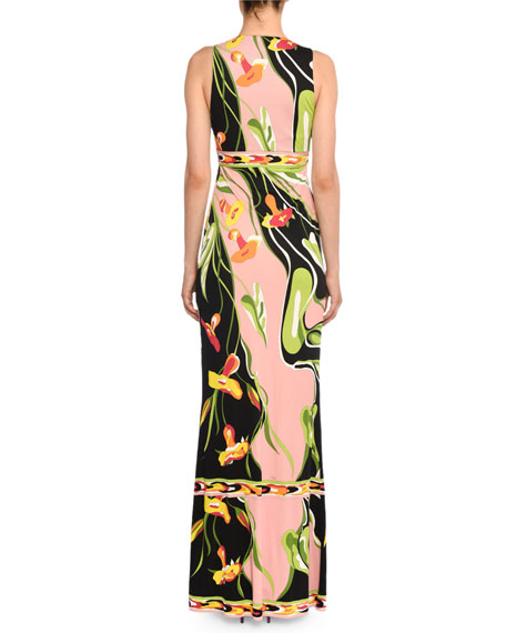 Emilio Pucci V-Neck Sleeveless Border Water Lily Print A-Line Dress