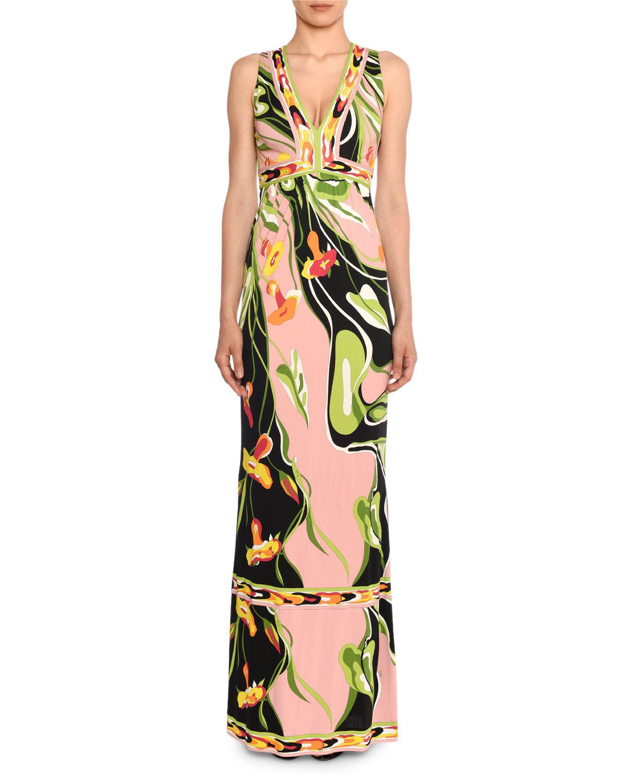 reputable site c5903 551b2 V-Neck Sleeveless Border Water Lily Print A-Line Dress