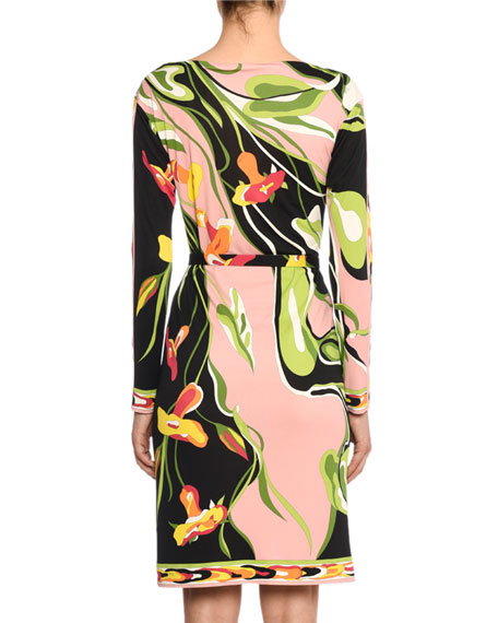 Emilio Pucci Boat-Neck Long-Sleeve Water Lily Print Shift Dress
