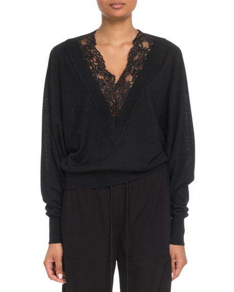 Image 1 of 2: Lace-Inset V-Neck Wool-Silk Pullover Sweater