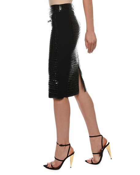 TOM FORD Crocodile-Embossed Leather Knee-Length Skirt