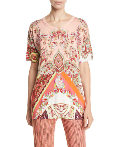 Luck-Symbol Paisley-Print Tunic Sweater