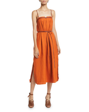 4d4b9d239de Loro Piana Naille Antigua Linen Sundress with Leather Strapping