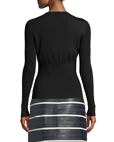 Escada Long-Sleeve Mesh Illusion Sweater