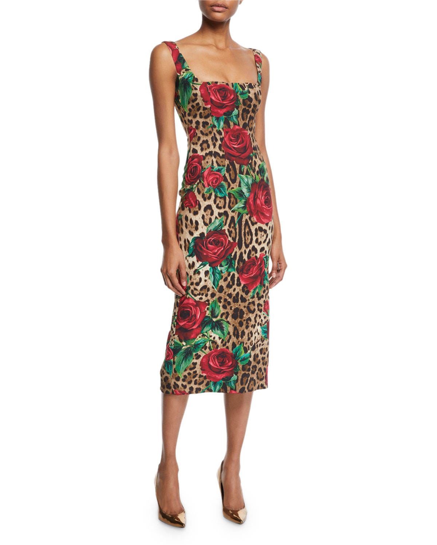 2c74e97e00ed3b Dolce   Gabbana Sleeveless Square-Neck Rose   Leopard Print Dress ...