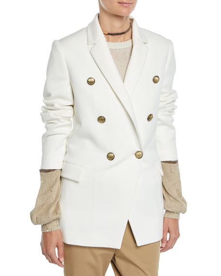 Brunello Cucinelli Double-Breasted Jersey Couture Blazer w/ Brass Buttons