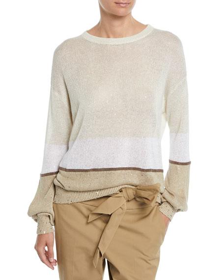 Brunello Cucinelli Crewneck Paillettes Linen-Silk Rugby-Stripe Sweater