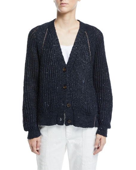 Brunello Cucinelli Shimmer Linen-Silk Ribbed Cardigan