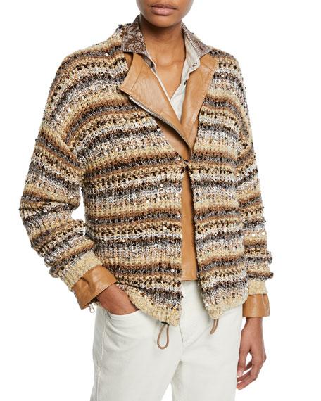 Brunello Cucinelli Sequined Striped Cotton-Net Cardigan