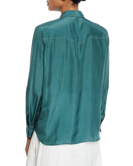 Brunello Cucinelli Silk Button-Down Western Blouse