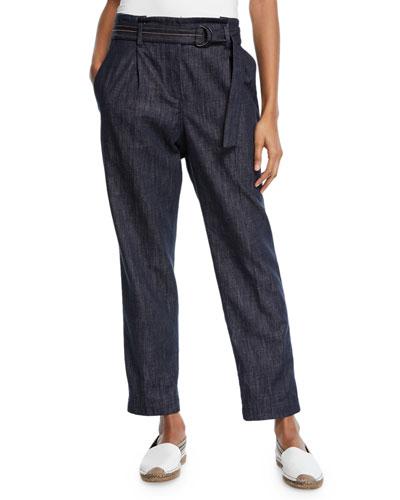 Denim Straight-Leg Pants w/D-Ring & Monili Belt
