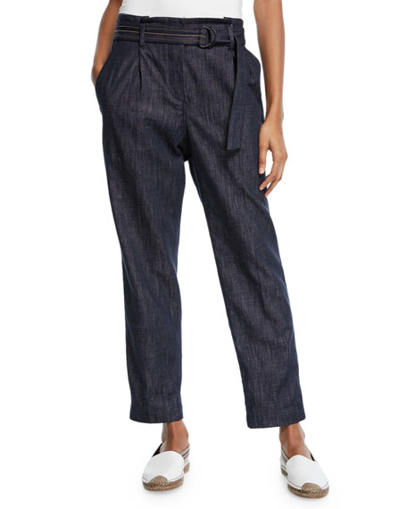 Brunello Cucinelli Denim Straight-Leg Pants w/D-Ring & Monili Belt