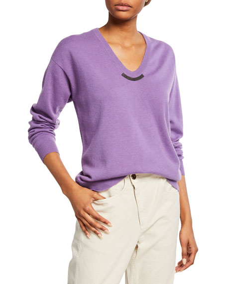 Brunello Cucinelli Cashmere Monili-Beaded Crewneck Sweater