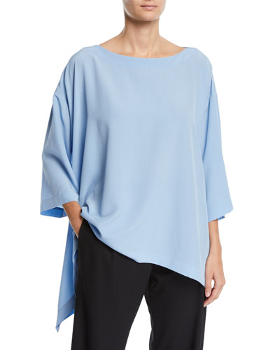 Lightweight Crepe Cascading-Side Tunic
