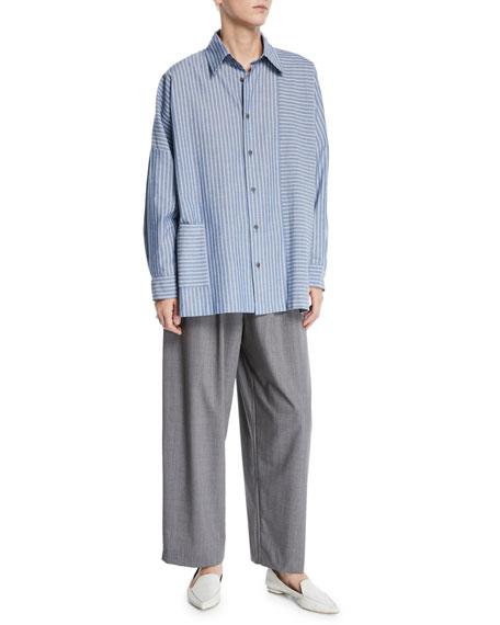 Eskandar Tasmanian Mini-Plaid Wool Trousers