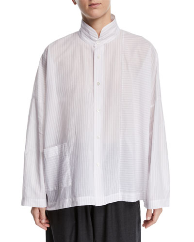 Paneled Button-Front Shirt