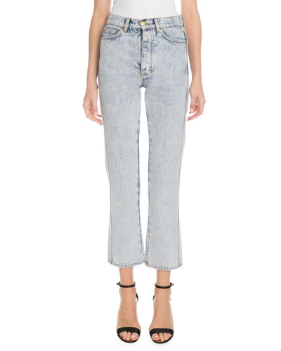 High-Waist Five-Pocket Straight-Leg Light-Wash Jeans