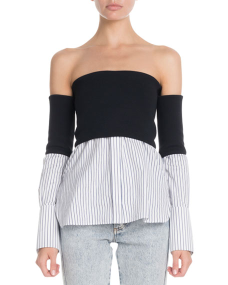 Victoria Victoria Beckham Off-The-Shoulder Striped-Hem Twofer Blouse