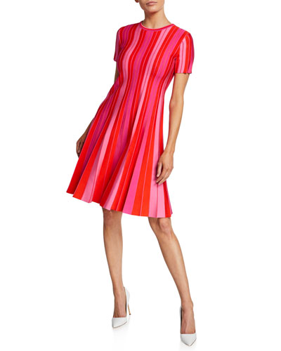 Carolina Herrera Short Sleeve Striped Knit Pleated Dress