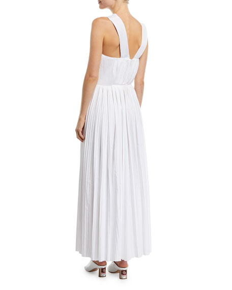 Gabriela Hearst Norah One-Shoulder Pleated-Poplin Gown