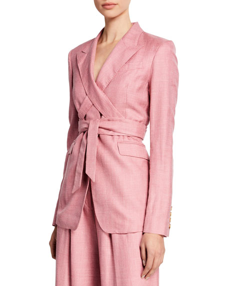 Gabriela Hearst Nutter Wrapped Tie-Waist Blazer, Blush
