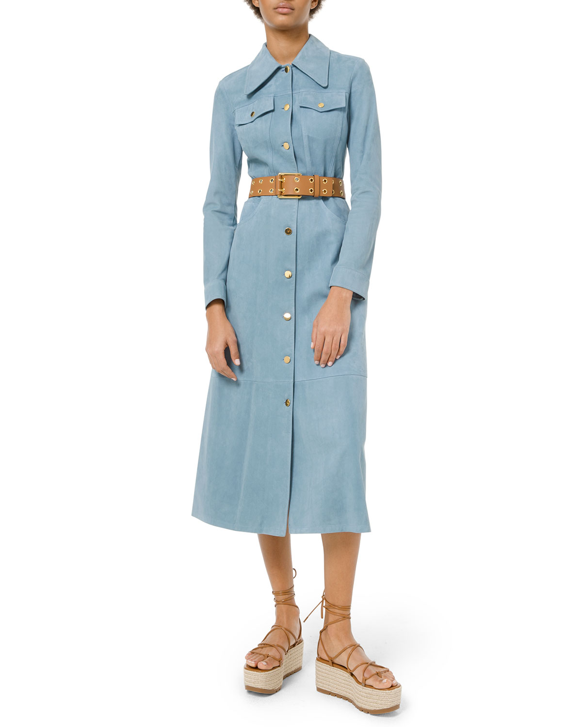 21cf5054dd9 Michael Kors Collection Heavy Suede Trench Coat Dress