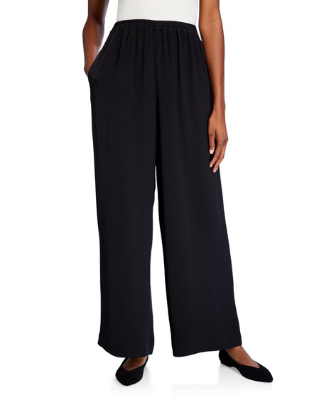 Eskandar Flared Silk Trousers, Black
