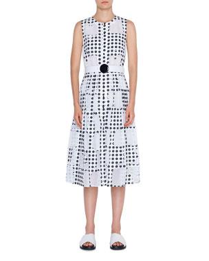 b8f483902b9233 Akris punto Scoop-Neck Window Dot Belted A-Line Dress
