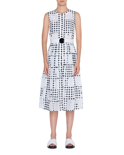 Scoop-Neck Window Dot Belted A-Line Dress