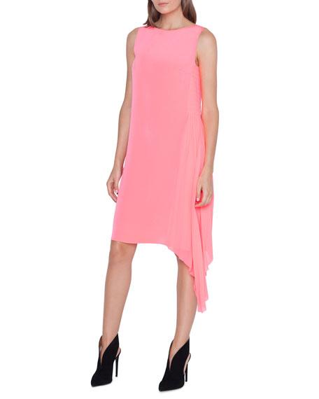 Akris Sleeveless Pleated-Side Shift Dress