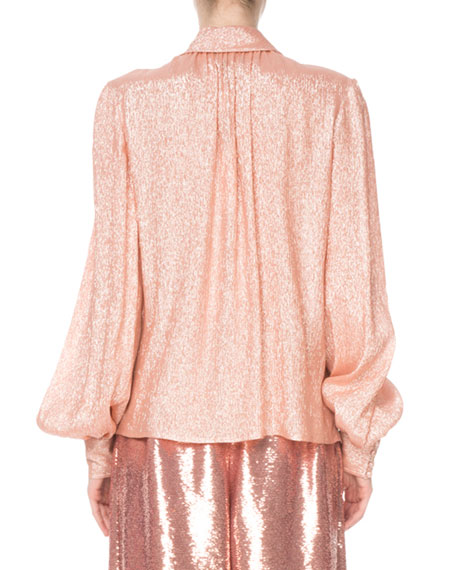 Marc Jacobs Shimmer Tie-Neck Blouse