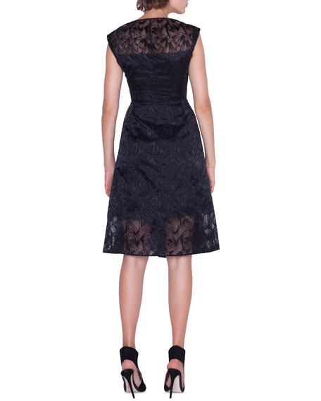 Image 2 of 4: Akris Cap-Sleeve Embroidered Organza Apron Dress