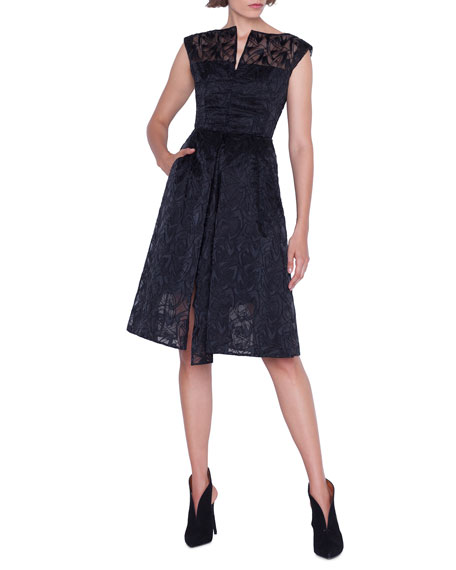 Image 1 of 4: Akris Cap-Sleeve Embroidered Organza Apron Dress