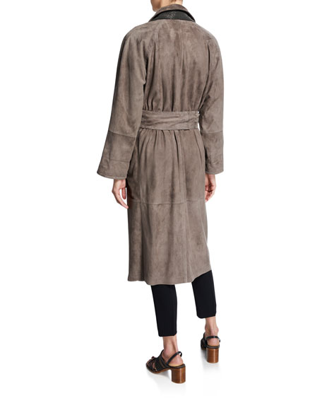 Image 2 of 3: Brunello Cucinelli Double-Breasted Suede Trench Coat