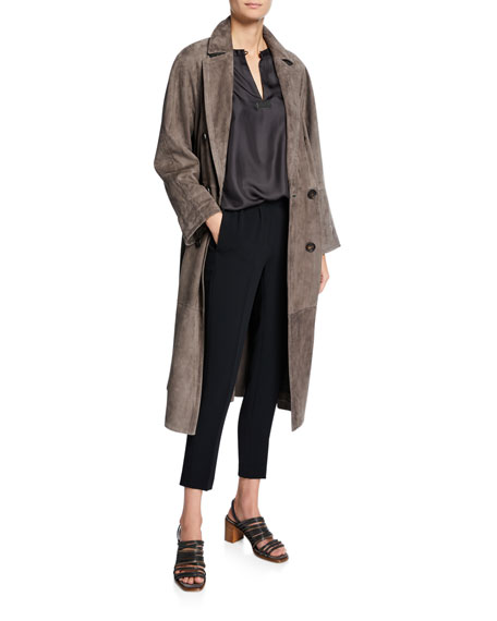 Image 3 of 3: Brunello Cucinelli Double-Breasted Suede Trench Coat
