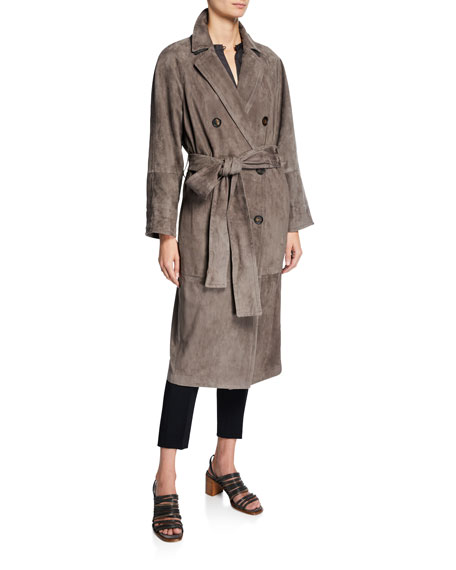 Image 1 of 3: Brunello Cucinelli Double-Breasted Suede Trench Coat