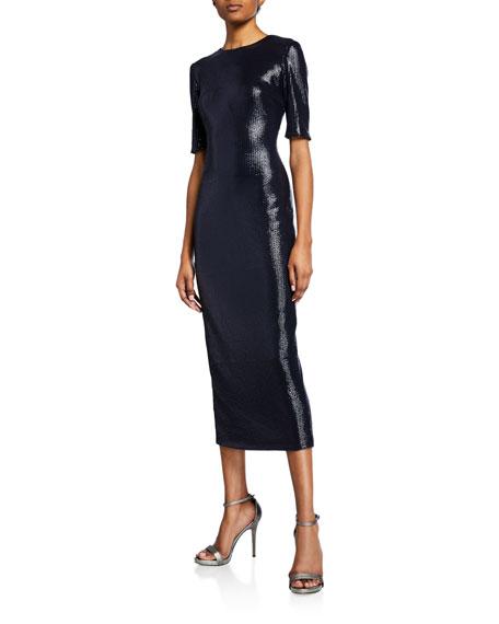 Sally LaPointe 1/2-Sleeve Stretch Sequin Bodycon Dress