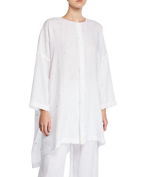 Eskandar Circle Embroidered Long-Back Shirt