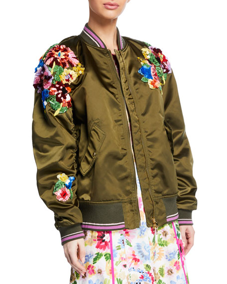 Escada Sequined Satin Zip-Front Bomber Jacket