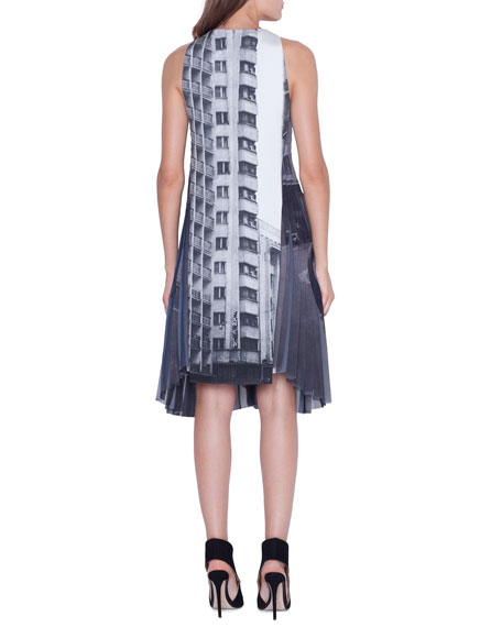 Akris Sleeveless Magnets Print Dress