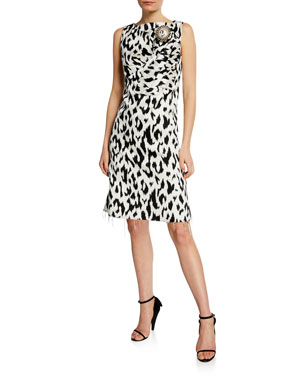 581f4b4e57da CALVIN KLEIN 205W39NYC Leopard-Print Dress with Crushed Bow   Crystal Pin