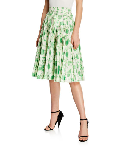 Leaf-Print Pleated Circle Skirt