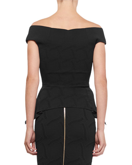 Roland Mouret Beal Off-The-Shoulder Jacquard Peplum Top