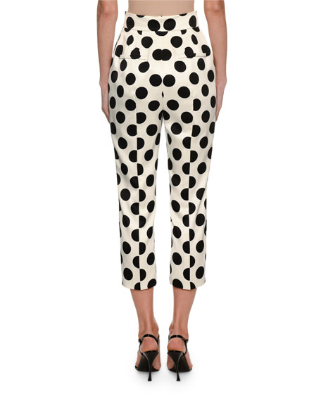 Dolce & Gabbana Polka-Dot Duchess Satin Front-Zip Pants