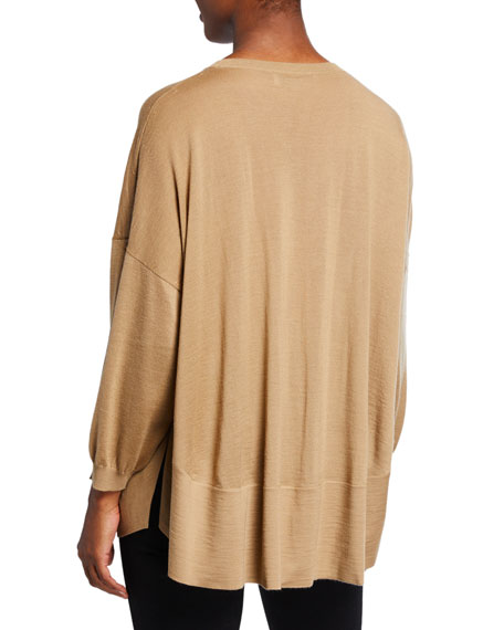 Agnona Cashmere 3/4-Sleeve Poncho Sweater