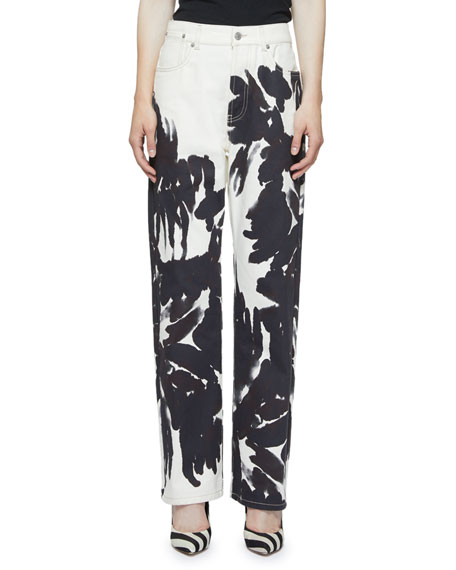 Dries Van Noten Painted Floral Straight-Leg Jeans