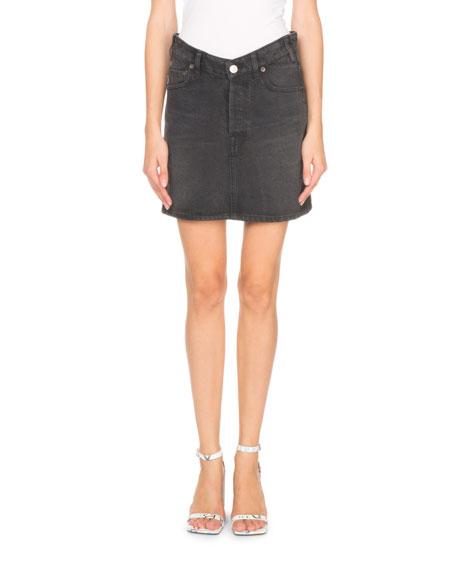 Balenciaga V-Waist Japanese Denim Mini Skirt