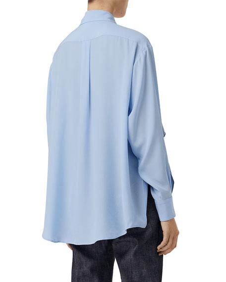 Burberry Monogram Print Trim Silk Boyfriend Shirt